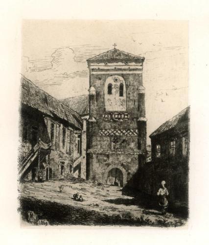 Alfredas Riomeris. Vilniaus pranciškonų bažnyčios varpinė. 1869